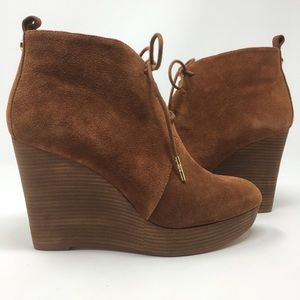 New Michael Kors 6.5 Pierce Lace-Up Wedge Booties